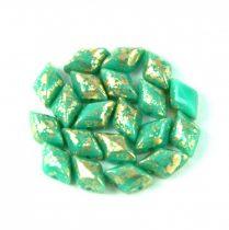 Gemduo cseh préselt üveggyöngy - turquoise green gold luster - 5x8 mm
