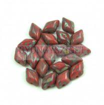 Gemduo cseh préselt üveggyöngy - Opaque Red Picasso - 5x8 mm