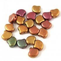 Ginko - cseh préselt kétlyukú gyöngy - Matt Metallic Bronze Iris - 7.5 x 7.5 mm