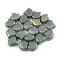 Ginko - cseh préselt kétlyukú gyöngy - Matt Metallic Gray Iris - 7.5 x 7.5 mm
