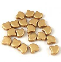 Ginko - cseh préselt kétlyukú gyöngy - Aztec Gold - 7.5 x 7.5 mm