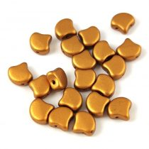 Ginko - cseh préselt kétlyukú gyöngy - Brass Gold - 7.5 x 7.5 mm
