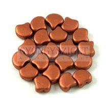 Ginko - cseh préselt kétlyukú gyöngy - Matt Rust - 7.5 x 7.5 mm