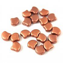 Ginko - cseh préselt kétlyukú gyöngy - Matt Copper - 7.5 x 7.5 mm