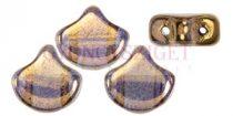 Ginko - cseh préselt kétlyukú gyöngy - Crystal Eggplant Bronze - 7.5 x 7.5 mm