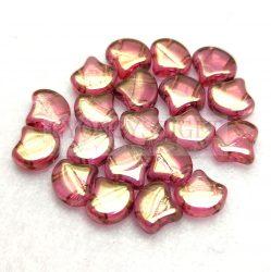 Ginko - cseh préselt kétlyukú gyöngy - Crystal Rose Bronze Luster - 7.5 x 7.5 mm