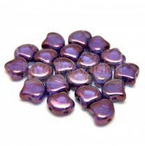 Ginko - cseh préselt kétlyukú gyöngy - Crystal Lila Vega Luster - 7.5 x 7.5 mm