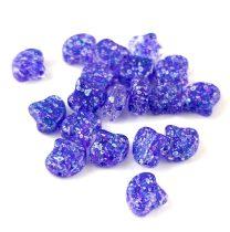 Ginko - cseh préselt kétlyukú gyöngy - Confetti Splash Indigo - 7.5 x 7.5 mm