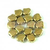 Ginko - cseh préselt kétlyukú gyöngy - Crystal Full Amber - 7.5 x 7.5 mm