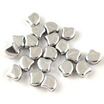 Ginko - cseh préselt kétlyukú gyöngy - Silver - 7.5 x 7.5 mm