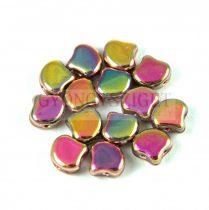 Ginko - cseh préselt kétlyukú gyöngy - Crystal Full Vitrail - 7.5 x 7.5 mm