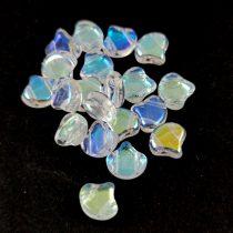 Ginko - cseh préselt kétlyukú gyöngy - Crystal AB - 7.5 x 7.5 mm