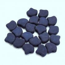 Ginko - cseh préselt kétlyukú gyöngy - Matte Silk Satin Dark Blue - 7.5 x 7.5 mm