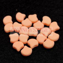 Ginko - cseh préselt kétlyukú gyöngy - Bondeli Matte Orange - 7.5 x 7.5 mm