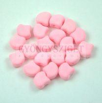 Ginko - cseh préselt kétlyukú gyöngy - Bondeli Matte Soft Pink - 7.5 x 7.5 mm