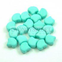 Ginko - cseh préselt kétlyukú gyöngy - Bondeli Matte Mint - 7.5 x 7.5 mm