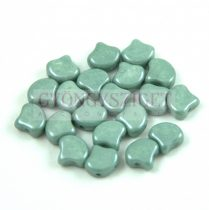 Ginko - cseh préselt kétlyukú gyöngy - White Green Luster - 7.5 x 7.5 mm