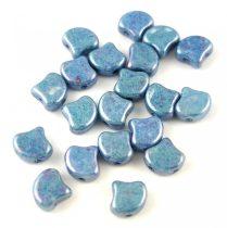 Ginko - cseh préselt kétlyukú gyöngy - White Blue Luster - 7.5 x 7.5 mm