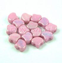 Ginko - cseh préselt kétlyukú gyöngy - White Pink Luster - 7.5 x 7.5 mm