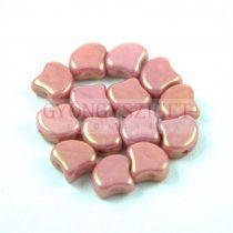 Ginko - cseh préselt kétlyukú gyöngy - White Rose Luster - 7.5 x 7.5 mm