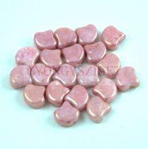 Ginko - cseh préselt kétlyukú gyöngy - White Pink Terracotta - 7.5 x 7.5 mm