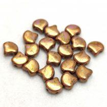 Ginko - cseh préselt kétlyukú gyöngy - White Bronze Terracotta - 7.5 x 7.5 mm