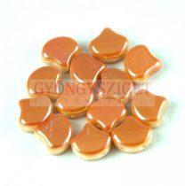 Ginko - cseh préselt kétlyukú gyöngy - White Peach - 7.5 x 7.5 mm