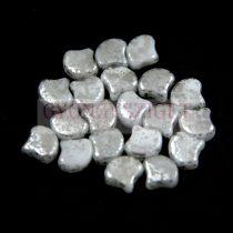 Ginko - cseh préselt kétlyukú gyöngy - White Silver Patina - 7.5 x 7.5 mm