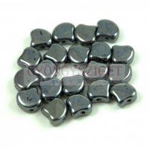 Ginko - cseh préselt kétlyukú gyöngy - Hematit - 7.5 x 7.5 mm