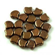 Ginko - cseh préselt kétlyukú gyöngy - Dark Bronze - 7.5 x 7.5 mm