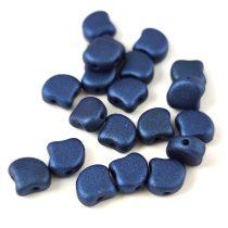 Ginko - cseh préselt kétlyukú gyöngy - Matt Metallic Blue - 7.5 x 7.5 mm