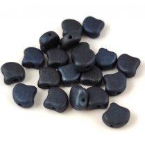 Ginko - cseh préselt kétlyukú gyöngy - Matt Metallic Dark Blue - 7.5 x 7.5 mm