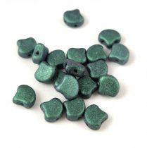 Ginko - cseh préselt kétlyukú gyöngy - Matt Metallic Light Green - 7.5 x 7.5 mm