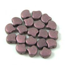 Ginko - cseh préselt kétlyukú gyöngy - Matt Metallic Pink - 7.5 x 7.5 mm