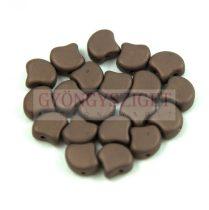 Ginko - cseh préselt kétlyukú gyöngy - Opaque Bronze Mat - 7.5 x 7.5 mm