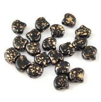 Ginko - cseh préselt kétlyukú gyöngy - Jet Gold Patina - 7.5 x 7.5 mm