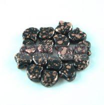 Ginko - cseh préselt kétlyukú gyöngy - Jet Copper Patina - 7.5 x 7.5 mm