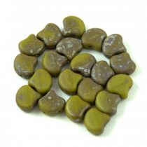 Ginko - cseh préselt kétlyukú gyöngy - Olive Matt Rembrandt - 7.5  x 7.5 mm
