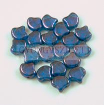 Ginko - cseh préselt kétlyukú gyöngy - Trans Aqua Vega Luster - 7.5 x 7.5 mm