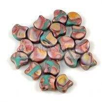 Ginko - cseh préselt kétlyukú gyöngy - Matt Bronze Apollo Turquoise - 7.5  x 7.5 mm