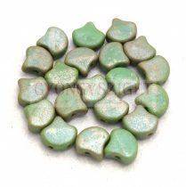 Ginko - cseh préselt kétlyukú gyöngy - Turquoise Green Matt Rembrandt - 7.5  x 7.5 mm
