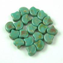 Ginko - cseh préselt kétlyukú gyöngy - Turquoise Green Picasso - 7.5  x 7.5 mm
