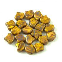 Ginko - cseh préselt kétlyukú gyöngy - Jonquil Picasso - 7.5  x 7.5 mm