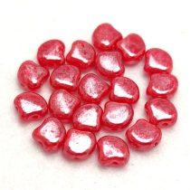 Ginko - cseh préselt kétlyukú gyöngy -  Trans Opal Red Luster - 7.5  x 7.5 mm