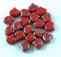 Ginko - cseh préselt kétlyukú gyöngy - Red Rembrandt - 7.5  x 7.5 mm