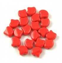 Ginko - cseh préselt kétlyukú gyöngy - Dark Red - 7.5  x 7.5 mm