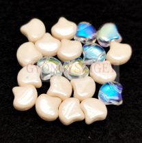 Ginko - cseh préselt kétlyukú gyöngy - mix - 7.5 x 7.5 mm