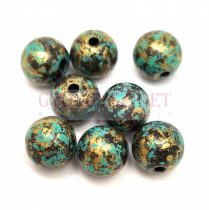 Műanyag golyó gyöngy - Jet Gold Turquoise - 9-10mm