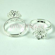 Gyűrűalap - áttört virágmintás - világos ezüst - állítható - 12mm