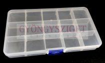 Gyöngy tároló - 15 rekeszes - 17 x 10 x 2 cm